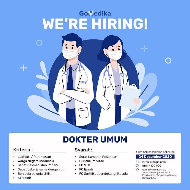 Loker Dokter GoMedika Bekasi (Berkas lamaran sebelum 24 Desember 2020)