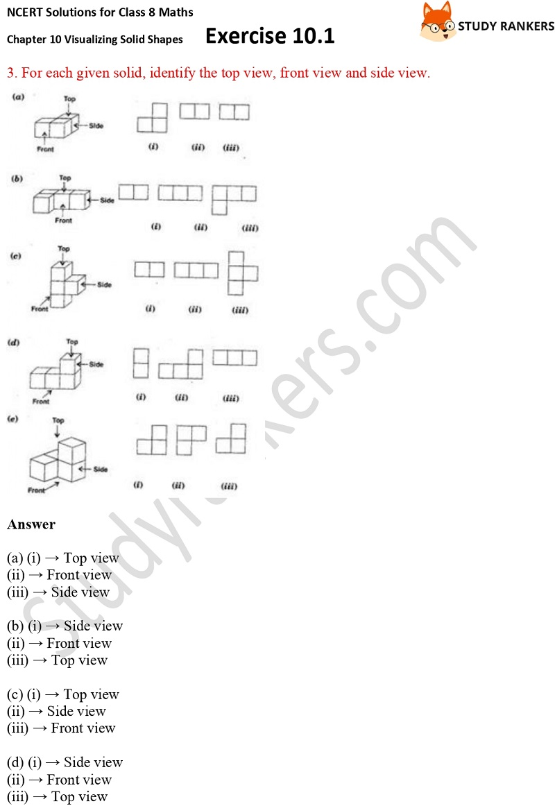 NCERT Solutions for Class 8 Maths Ch 10 Visualizing Solid Shapes Exercise 10.1 3