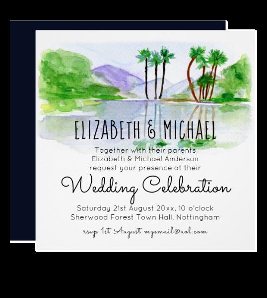 watercolor tropical island wedding invitations