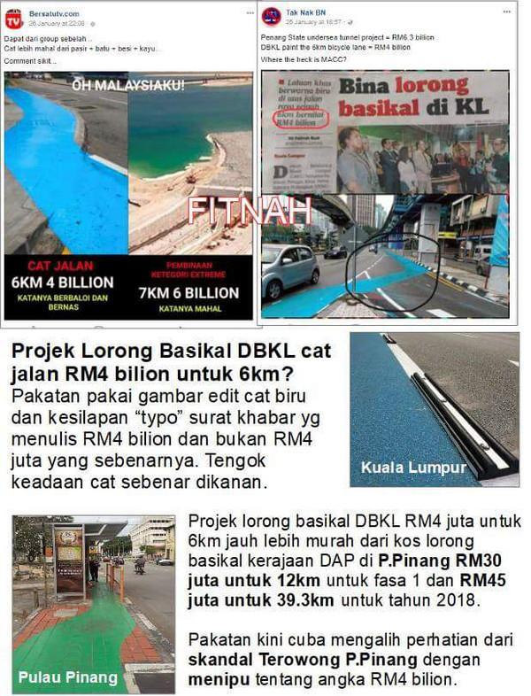 Pakatan kutip berita salah mengenai lorong basikal KL bandingkan dengan terowong Pulau Pinang