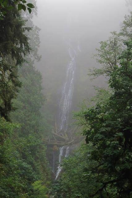 The falls through a curtain of mist...