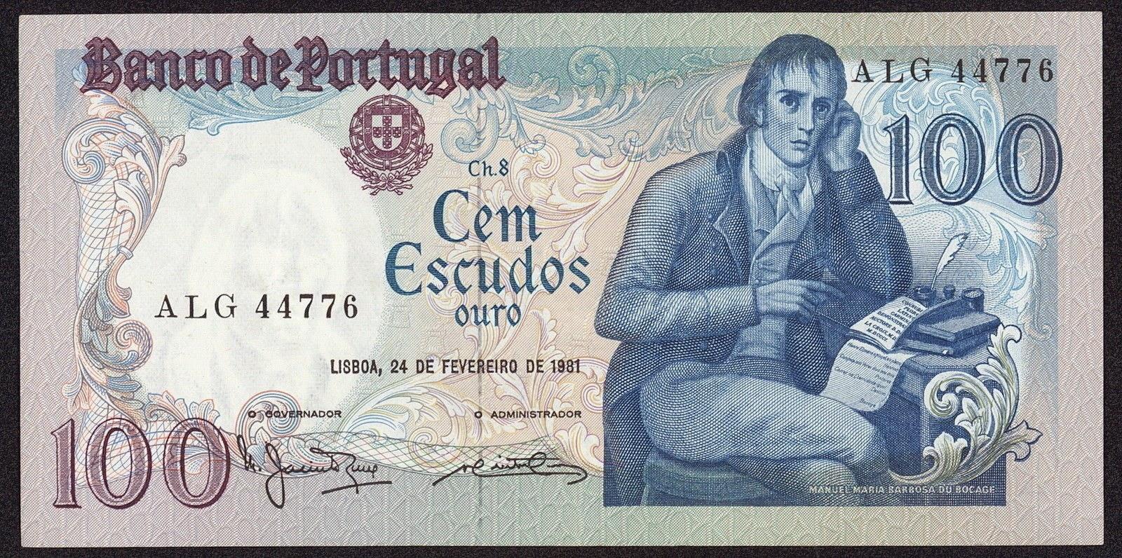 Portugal Banknotes 100 Escudos banknote 1981 Portuguese poet Manuel Maria Barbosa du Bocage