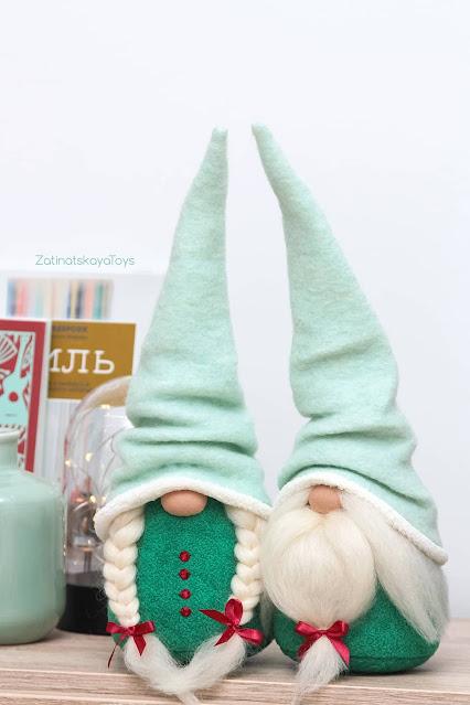 Christmas gnomes with mint Swedish hats by sewing patterns of Zatinatskaya Natalia