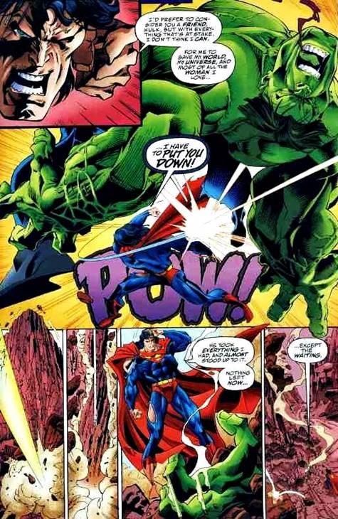 Hulk cae derrotado después de un puñetazo de Superman