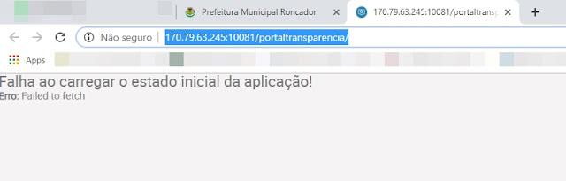 Portal da Transparência de Roncador literalmente não funciona!