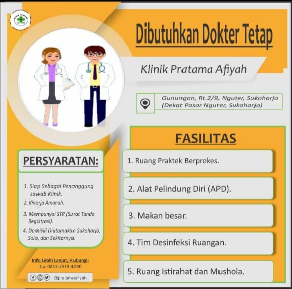 Loker Dokter Tetap Klinik Pratama Afiyah Sukoharjo