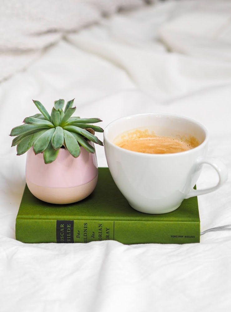 coffee, plant and book on marble background - how to motivate yourself