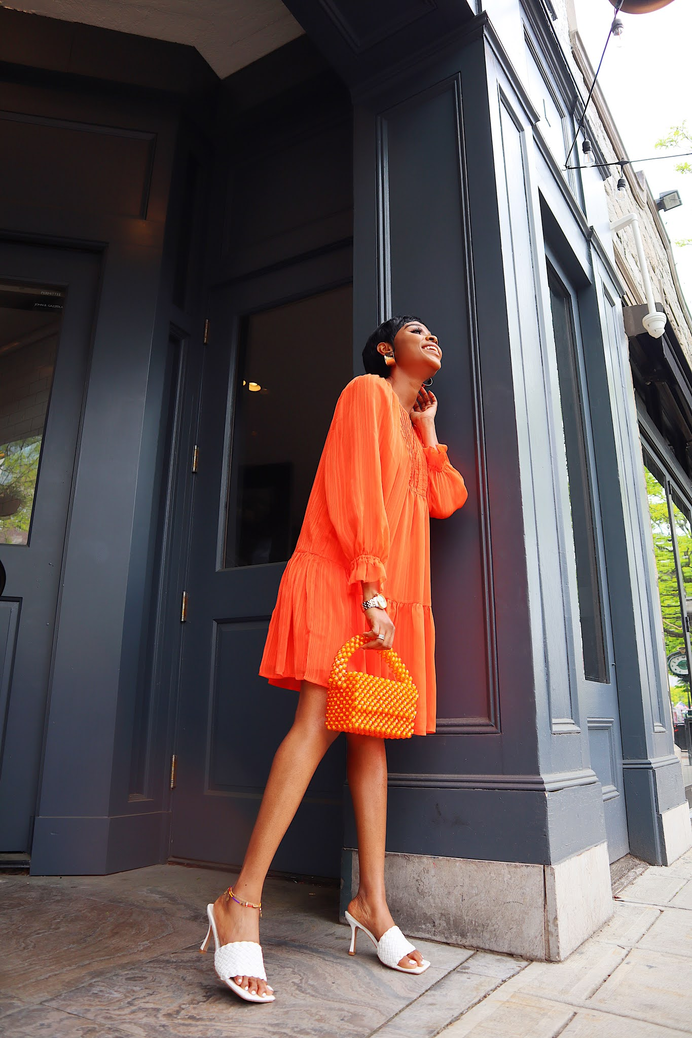 How to style an orange dress