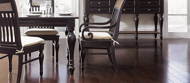 Hardwood floor looks beautiful in this dining area and with proper care, it will look this way for years to come.