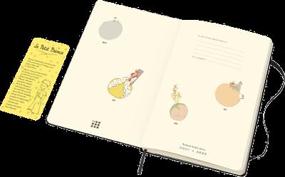 Agenda de el principito por dentro, con ilustraciones del libro.