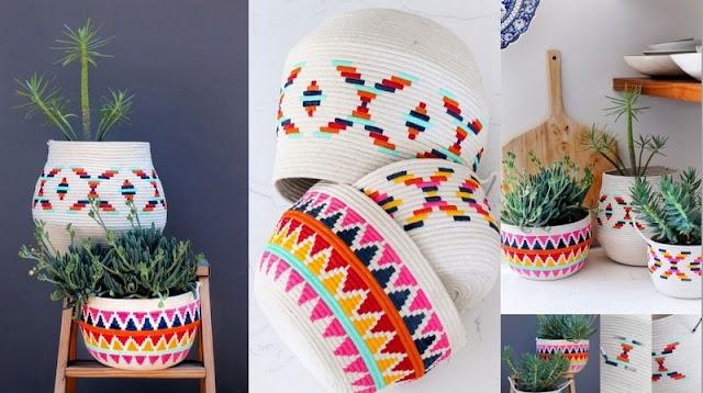 Βάψιμο Βαμβακερών Καλαθιών με Ethnic σχέδια