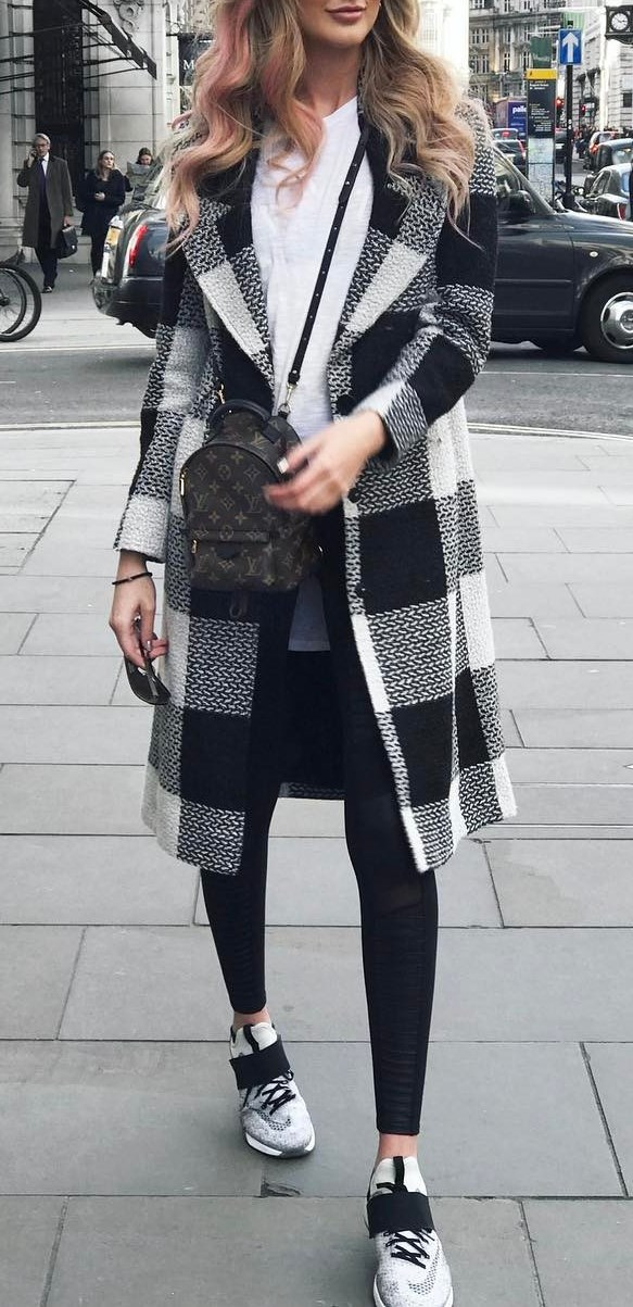 white and black fall outfit: coat + bag + top + skinnies + sneakers