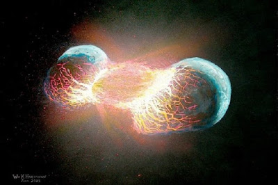 Moon was produced by a head-on collision between Earth and a forming planet