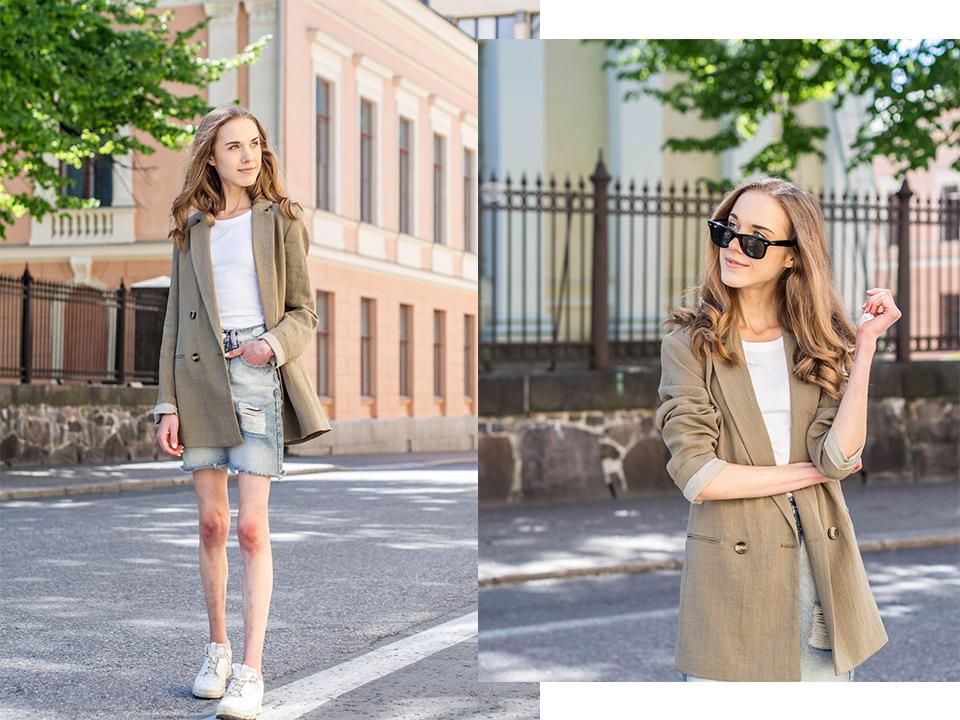 Denim skirt outfit, summer 2020 - Asu farkkuhameen kanssa, kesämuoti 2020
