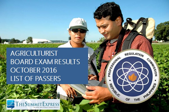 List of Passers: October 2016 Agriculturist board exam results