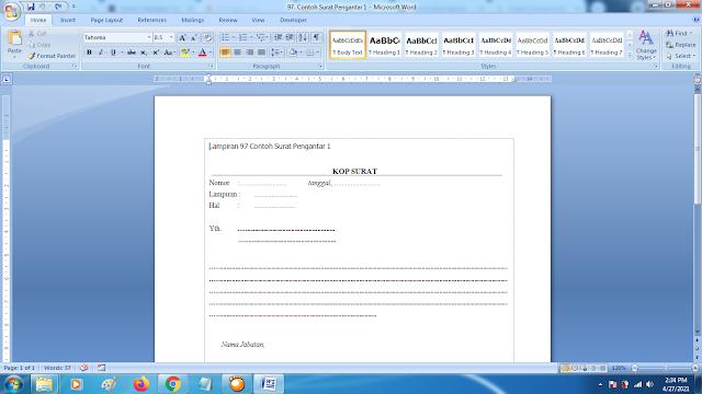 Contoh Format Surat Pengantar 1 Terbaru