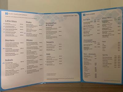 Room service dining menu, Hilton Garden Inn Kuala Lumpur