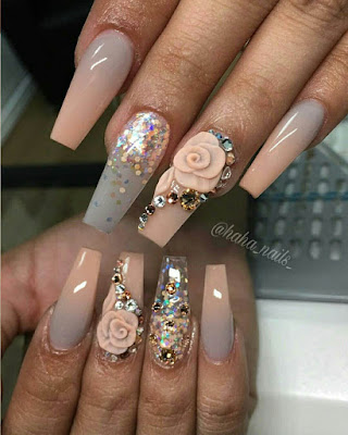 coffin nail designs rhinestones with flowers