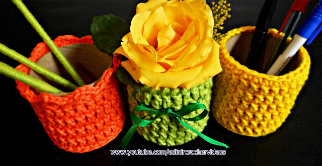 Croche tubular vasos e cestas no curso de croche gratis para iniciantes passo a passo com EdinirCroche