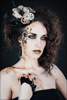 How to glue gears to your skin for a face full of steampunk makeup. Tips, tricks, tutorials for special fx makeup, men and women.