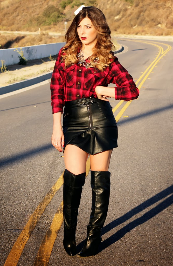 Women In Leather Skirts And Boots Fashion Skirts