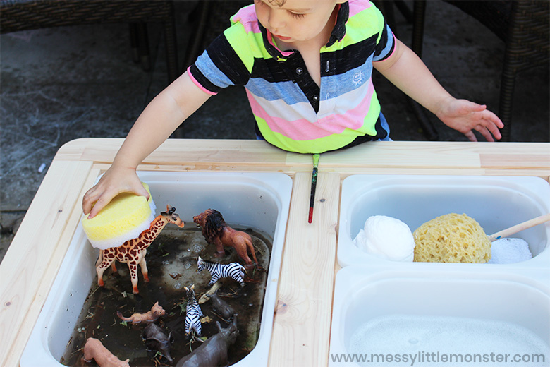 Zoo animal sensory bin activity for toddlers