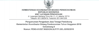 Lowongan Kerja Non PNS Terbaru Kementerian Koordinator Bidang Perekonomian Tahun 2018