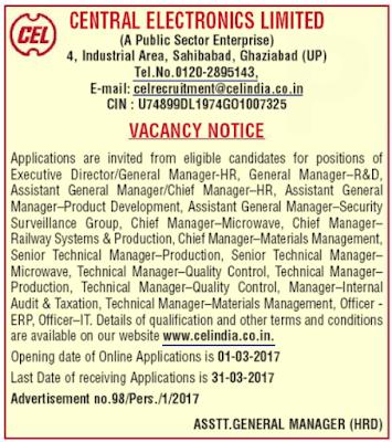CEL Recruitment 2017