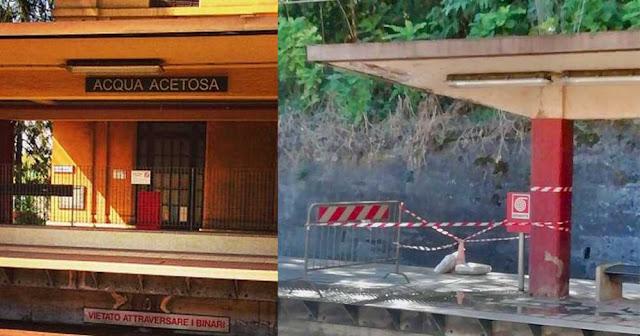 Piovono calcinacci alla stazione Acqua Acetosa