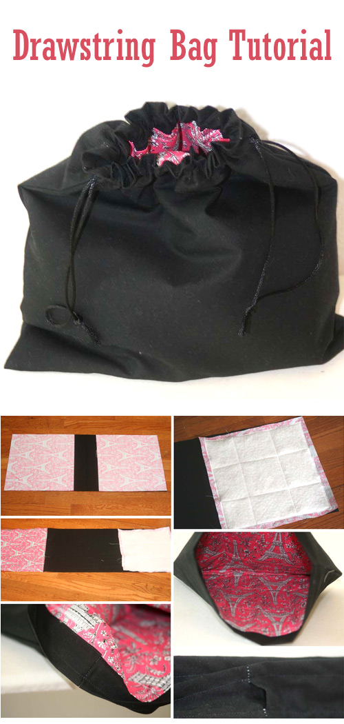 Padded Drawstring Bag Tutorial