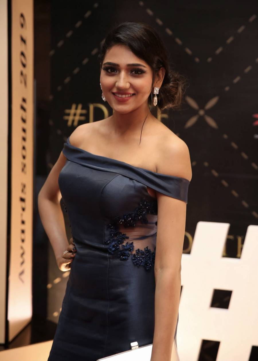 Shalu Chourasiya in Blue Dress at Dadasaheb Phalke Awards
