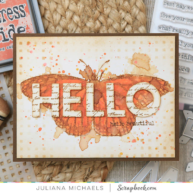 Hello Beautiful Card by Juliana Michaels featuring Scrapbook.com Exclusive Basic Bold Alphabet Dies and Tim Holtz Specimen Stamp Set