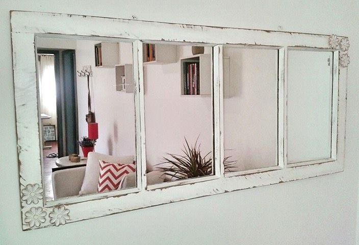 Well-known cativa artesanato: Janela antiga transformada em janela espelho JE02