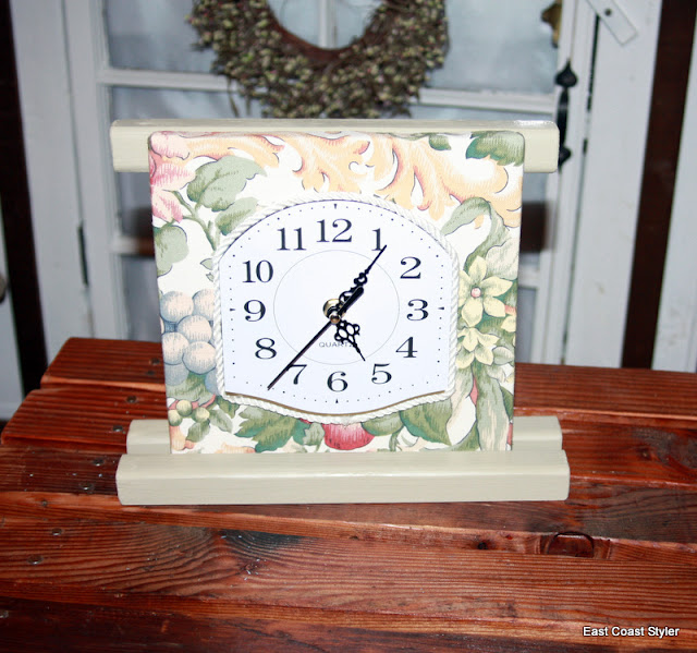 kitchen clock salvage wood fabric samples