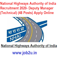 National Highways Authority of India Recruitment 2020- Deputy Manager (Technical) (48 Posts) Apply Online