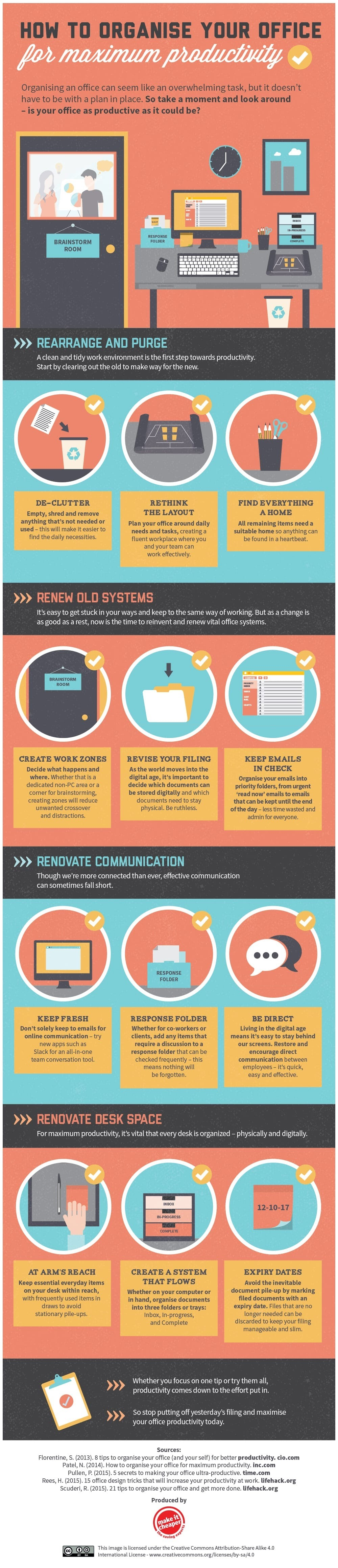 How to organize your office in order to increase productivity #infographic