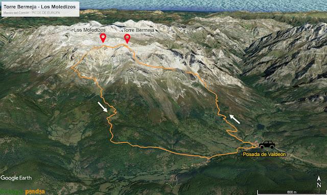 Mapa 3D de la ruta a la Torre Bermeja y los Moledizos saliendo desde Posada de Valdeón en Picos de Europa