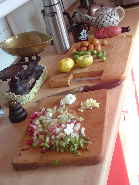 A variety of prepared vegetables on a kitchen counter