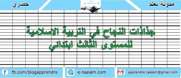 جذاذات النجاح في التربية الاسلامية للمستوى الثالث ابتدائي 2021