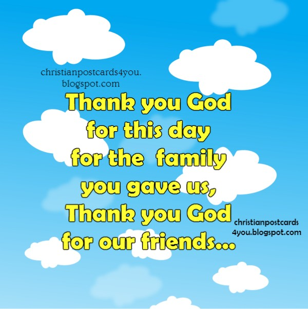 by Mery Bracho. Thank you God for this day christian card. free image.