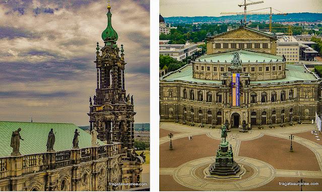 Vista do alto da Torre Hausmann, Dresden