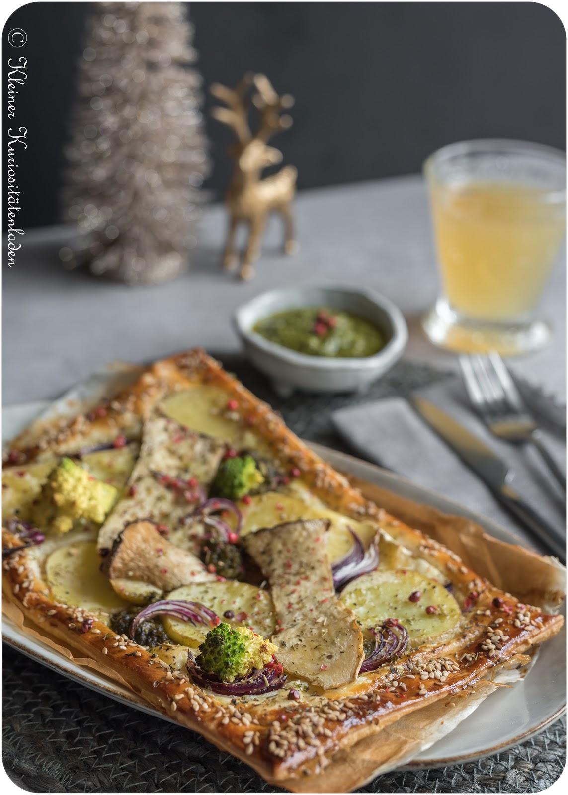 Kartoffel-Pilz-Tartes mit Feldsalatpesto