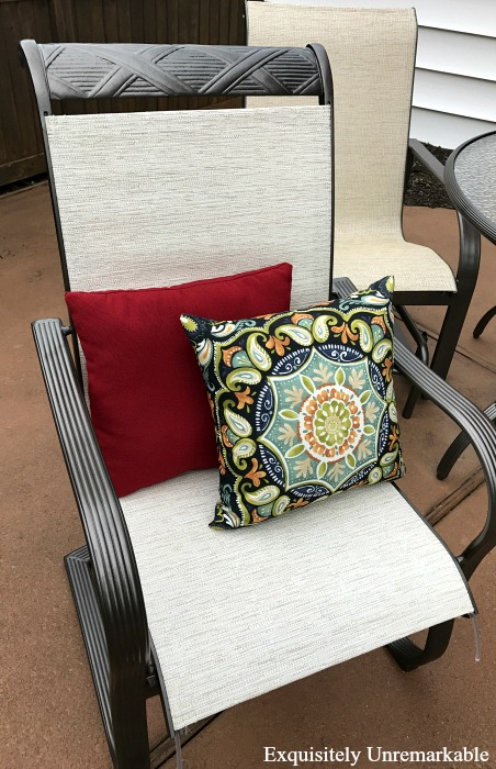Patio Chair with pillows and new slings