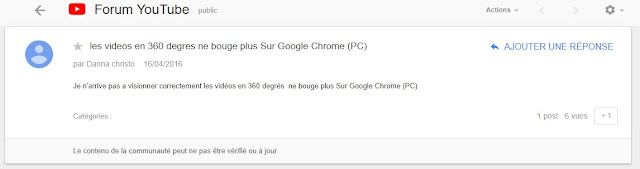 les vidéos en 360 degrés ne bouge plus Sur Google Chrome (PC)
