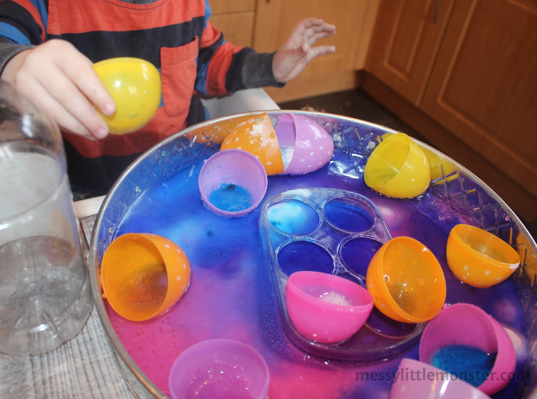 Fizzy plastic Easter egg science experiment for kids