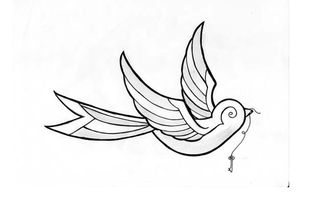 dibujo facil tatuaje pajarito