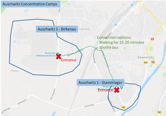 Map of Auschwitz for easy orientation and with connection route between Auschwitz Stammlager and Birkenau.