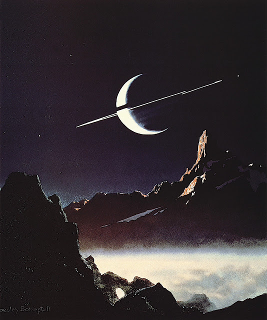 a Chesley Bonestell color illustration of a misty planet