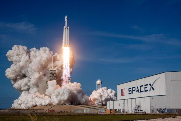 SpaceX's Falcon Heavy rocket lifts off on its maiden flight from Launch Complex 39A at NASA's Kennedy Space Center in Florida...on February 6, 2018.