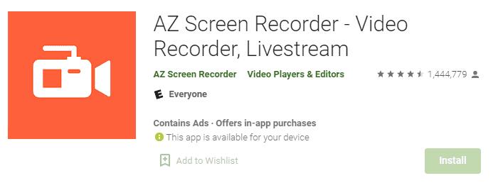 تطبيق Az screen recorder
